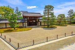 Japanese rock garden Arashiyama. Kyoto, Japan - April 27, 2017: Japanese rock garden or Karesansui garden in a sunny day inside of Tenryu-ji Zen Temple or Tenryu Royalty Free Stock Photo