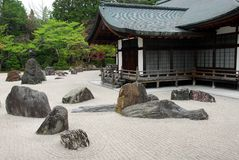 Japanese rock garden. Japanese rock (dry landscape) zen garden. karesansui Royalty Free Stock Photography