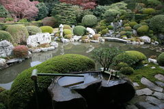 Japanese rock garden and pond Stock Photo