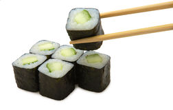 Japanese roll with avocado. On white background Royalty Free Stock Photos