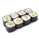 Japanese roll with avocado isolated on white background with sha. Japanese roll with fresh avocado Stock Photography