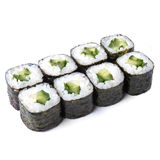 Japanese roll with cucumber isolated on white background. Japanese roll with cucumber on white table Royalty Free Stock Images