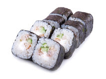 Japanese roll with fried eel in unagi sauce and cucumber isolate. Sake maki Japanese roll with fried eel in unagi sauce and cucumber Royalty Free Stock Photos