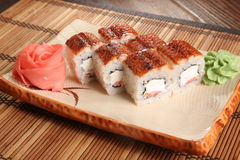 Japanese roll with wasabi sauce on plate Royalty Free Stock Photos