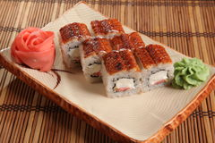 Japanese roll with wasabi sauce on plate Royalty Free Stock Image
