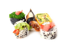 Japanese rolls. On a white background Royalty Free Stock Image
