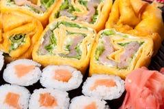 Japanese rolls. Fresh japanese rolls close up Royalty Free Stock Photos