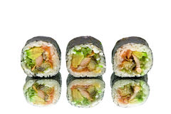 Japanese rolls with avocado and eel on white background Royalty Free Stock Photography
