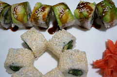 Japanese rolls with avocado, wasabi and ginger Stock Image