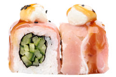 Japanese rolls with bacon, cream cheese and cucumbers isolated Stock Image