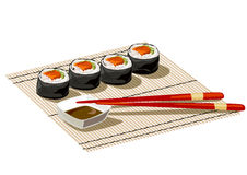 Japanese rolls on a bamboo mat Stock Image