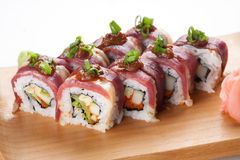 Japanese rolls with becon Stock Photography