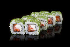 Japanese rolls on black background stock photography