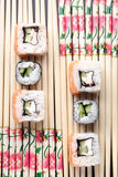 Japanese rolls and chopsticks Royalty Free Stock Photography