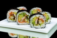 Japanese rolls close-up on black background. horizontal photo. Stock Images