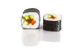 Japanese rolls with nori, avocado and salmon Stock Image