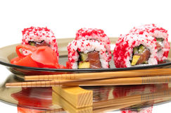 Japanese rolls and pickled ginger on a plate close-up  Stock Photography