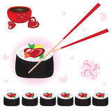 Japanese rolls with sauce and chopsticks Royalty Free Stock Photos
