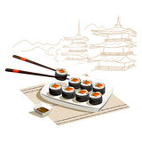 Japanese rolls. Sketch of Japanese architecture Stock Photos