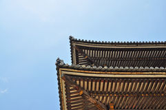 The Japanese roof. Architecture of the Japanese roof at Ninnaji temple in Kyoto, Japan Royalty Free Stock Photos