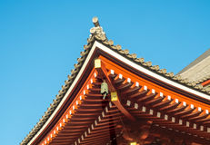 Japanese at roof of temple Royalty Free Stock Photo