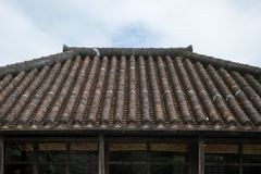 Japanese roof tile ancient shrine rooftop stock images