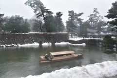 Japanese roofed treasure boat at the outer moat stock photo