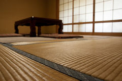 Japanese room with tatami mats. Tatami mats in Japanese ryokan room Royalty Free Stock Photography