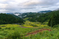 Japanese rural landscape with rice paddy terraces Royalty Free Stock Photography