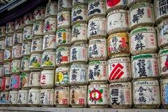 Japanese sake barrels - Tokyo, Japan Stock Photos