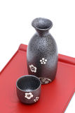 Japanese sake bottle and cup Stock Photography