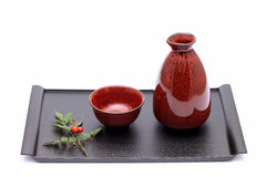 Japanese sake bottle and cups Stock Photos
