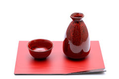 Japanese sake bottle and cups Royalty Free Stock Image