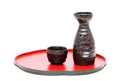 Japanese sake cup and bottle Stock Images
