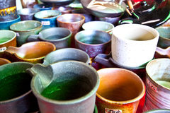 Japanese Sake jar pottery cup Royalty Free Stock Photos