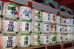 Japanese sake barrels in a Nikko shrine Royalty Free Stock Images