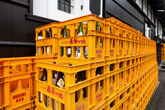 Japanese sake plastic boxes Stock Photos