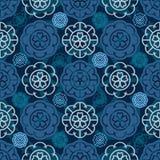 Japanese Sakura flower icon circle seamless pattern Stock Images