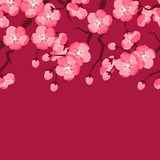 Japanese sakura seamless pattern with stylized flowers. Background made without clipping mask. Easy to use for backdrop Stock Photo