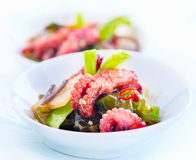 Japanese salad with baby octopus and ginger Royalty Free Stock Photo