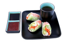 Free Japanese Salad Roll & Sauces Stock Photography - 513792