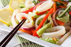 Japanese salad with vegetables and squid closeup horizontal Stock Photos