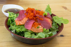 Japanese salad view. Japanese salad view on the wooden table Stock Photo
