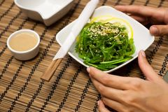 Japanese salad with wakame algae. In the white bowl Stock Photography
