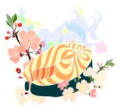 Japanese salmon with cloud vector set on background. stock image