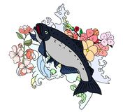 Japanese salmon with cloud vector set on background. royalty free stock images