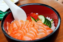 Japanese Salmon Don With Salmon Roe Stock Photography