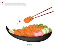 Japanese Salmon Sashimi, A Popular Dish in Japan Stock Images