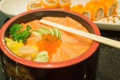Japanese salmon sashimi and sushi roll Royalty Free Stock Photos