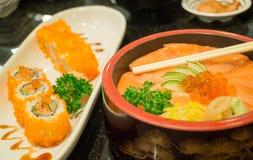 Japanese salmon sashimi and sushi roll Royalty Free Stock Images